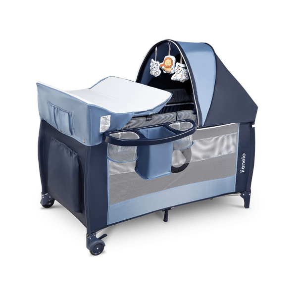 Lionelo Sven Plus Navy Blue Ceļojumu gultiņa manēža (2 līmeņi)