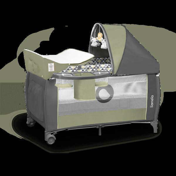 Lionelo Sven Plus Olive Green Ceļojumu gultiņa manēža (2 līmeņi)