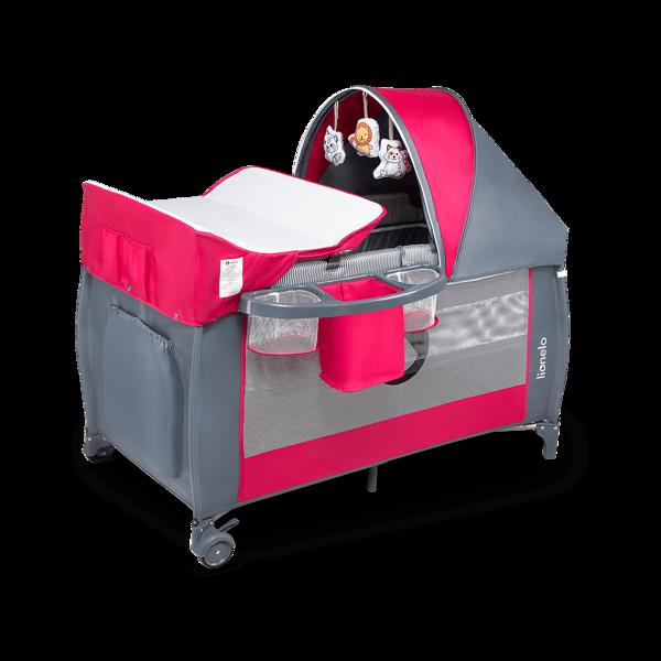 Lionelo Sven Plus Pink Rose Ceļojumu gultiņa manēža (2 līmeņi)