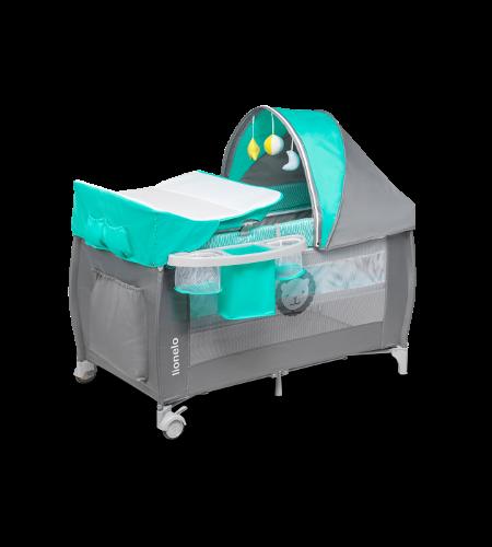 Lionelo Sven Plus Turquoise Grey Ceļojumu gultiņa manēža (2 līmeņi)