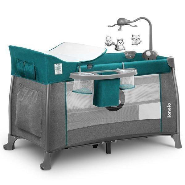 Lionelo Thomi Green Turquoise 2in1 Ceļojumu gulta