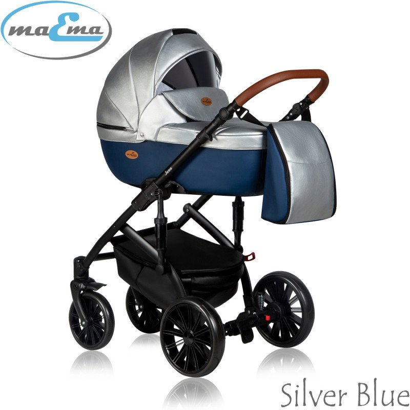 Maema Jess 3in1 Silver Blue Bērnu ratiņi 3 in 1