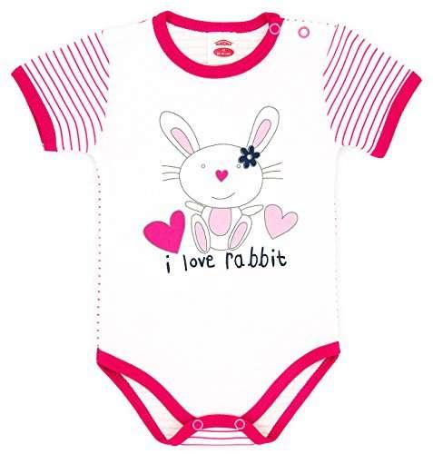 Makoma Body Pink Rabbit Zīdaiņu bodiji ar īsām piedurknēm