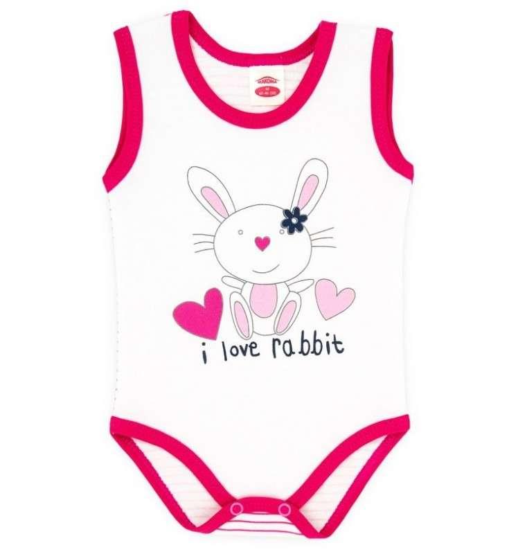 Makoma Body Pink Rabbit Zīdaiņu bodiji bez piedurknēm