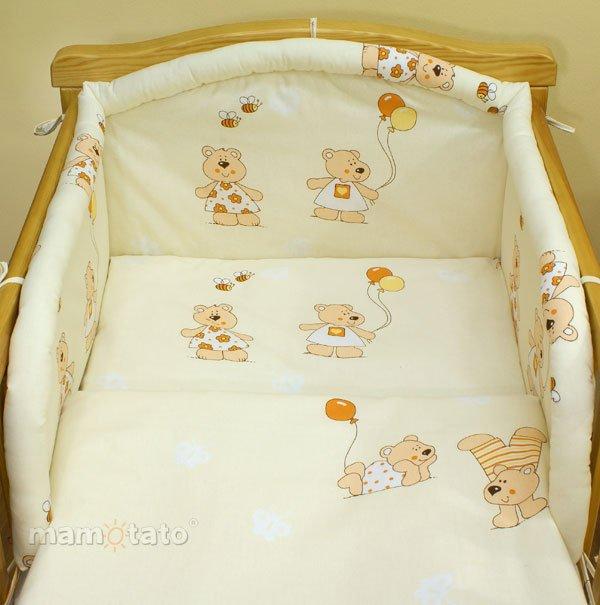 Mamo Tato Bear Col. Ecru Kokvilnas gultas veļas komplekts no 3 daļam (60/135x100 cm)