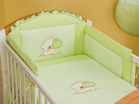 Mamo Tato Bear Col. Green Kokvilnas gultas veļas komplekts no 3 daļām (70/100x135 cm)