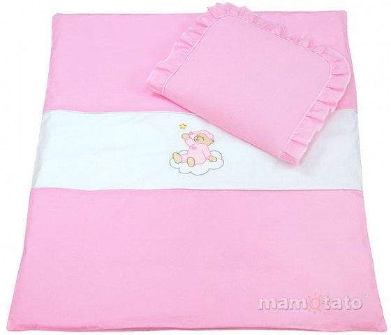 Mamo Tato Bear Col. Pink Kokvilnas ratiņu veļas komplekts no 4 daļām