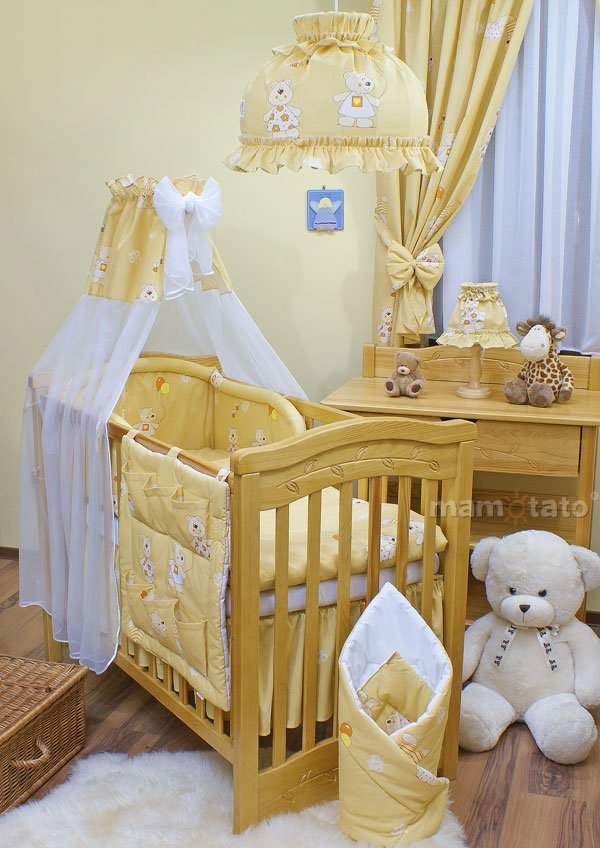 Mamo Tato Bear Col.Light Yellow Kokvilnas gultas veļas komplekts no 11 daļām (60/100x135 cm)