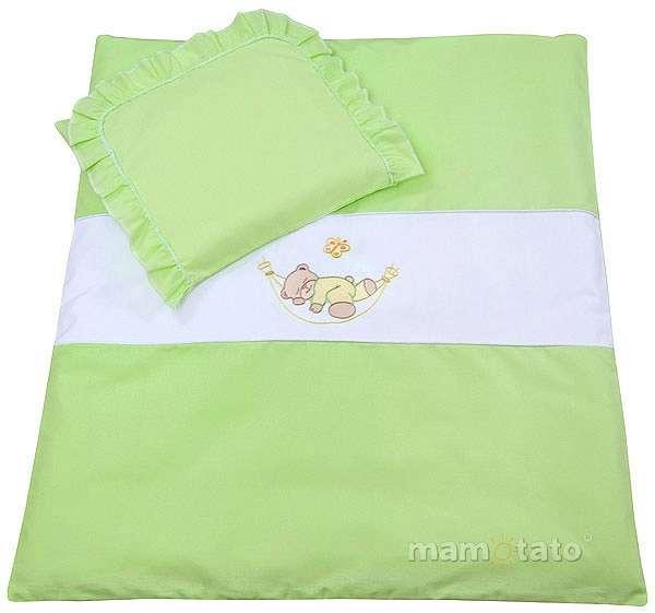 Mamo Tato Bear Green Kokvilnas ratiņu veļas komplekts no 4 daļām