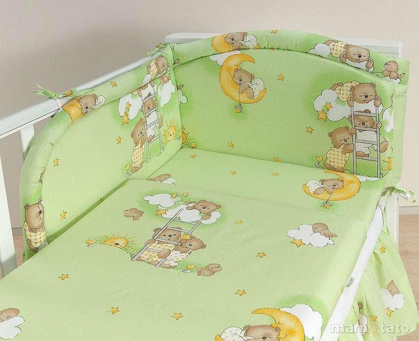 Mamo Tato Bears Green Kokvilnas gultas veļas komplekts no 3 daļām (60/100x135 cm)