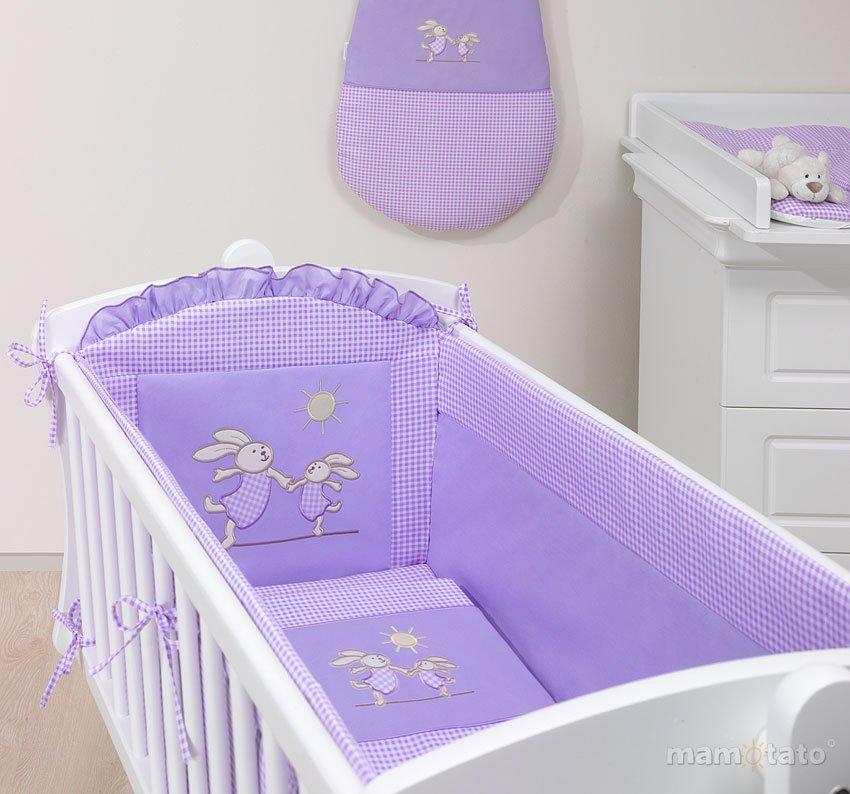 Mamo Tato Bunnies Col. Lavender Kokvilnas gultas veļas komplekts no 5 daļām šūpulim (45/70x80 cm)