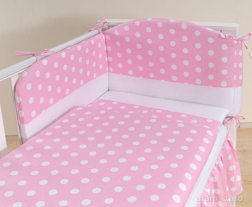 Mamo Tato Dots Col. Pink Kokvilnas gultas veļas komplekts no 3 daļām (60/135x100 cm)