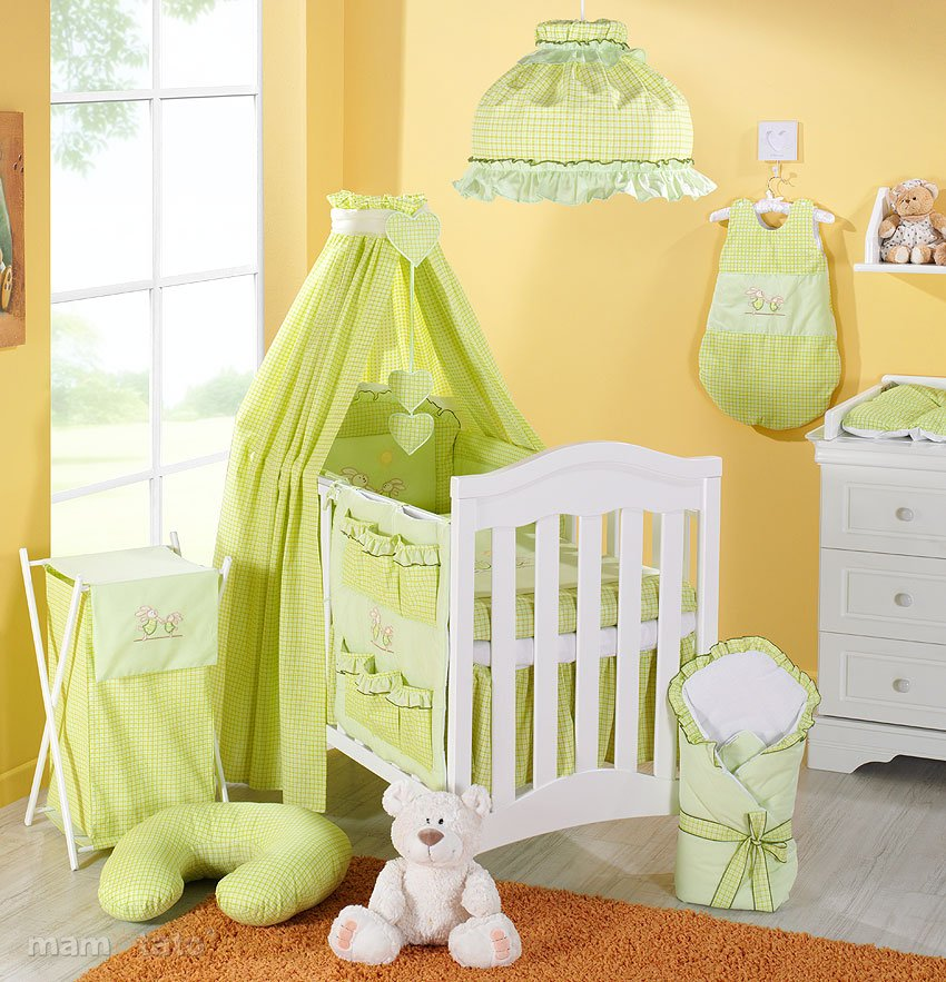 Mamo Tato Funny Bunnies Green Print Kokvilnas gultas veļas komplekts no 5 daļām (60/90x120 cm)