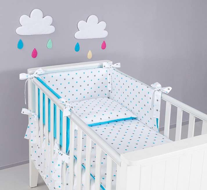 Mamo Tato Gray Blue Stars Kokvilnas gultas veļas komplekts Pelēkas Zilas zvaigznītes no 3 daļām