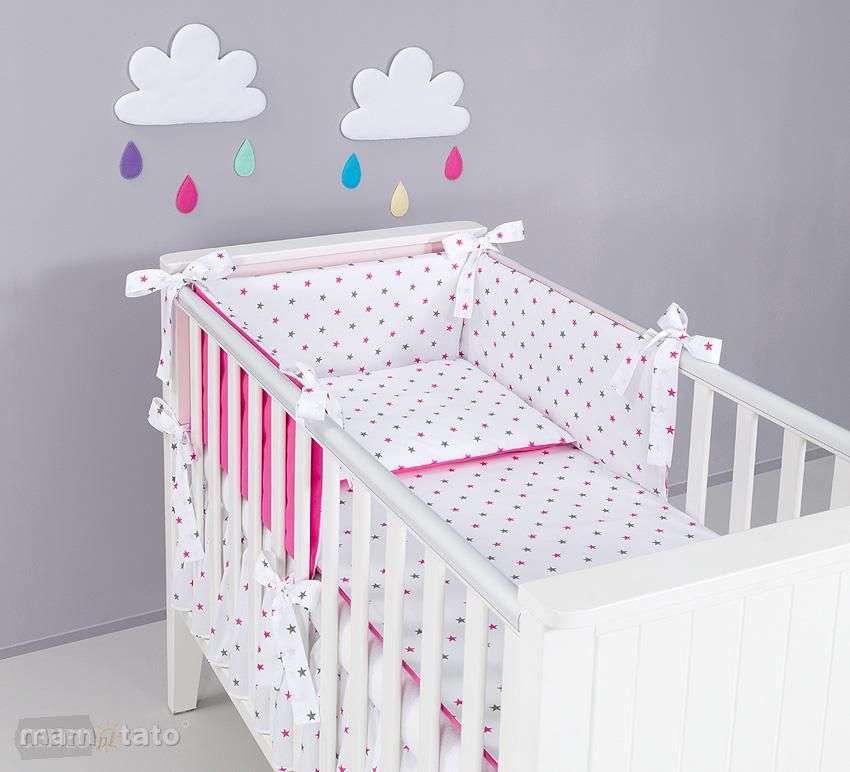 Mamo Tato Gray Pink Stars Kokvilnas gultas veļas komplekts Zvaigznītes no 3 daļām