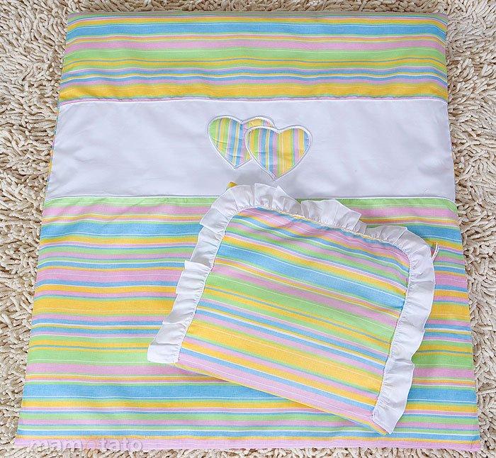 Mamo Tato Heart Col. Candy Kokvilnas ratiņu veļas komplekts no 4 daļām