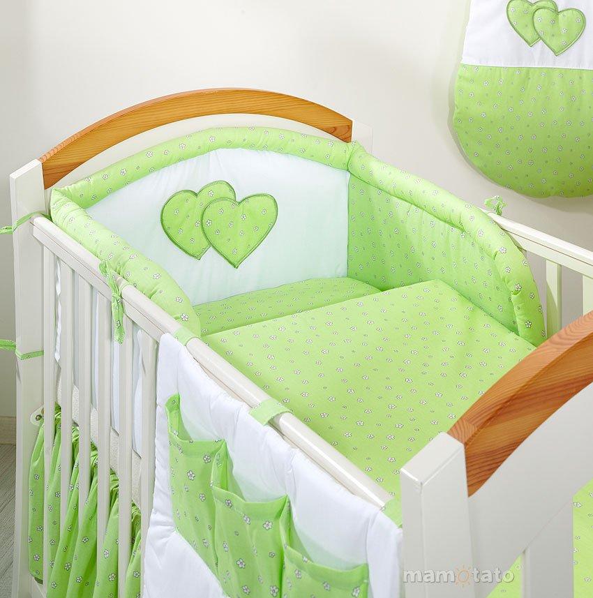 Mamo Tato Heart Col. Green Print Kokvilnas gultas veļas komplekts no 3 daļām (60/100x135 cm)