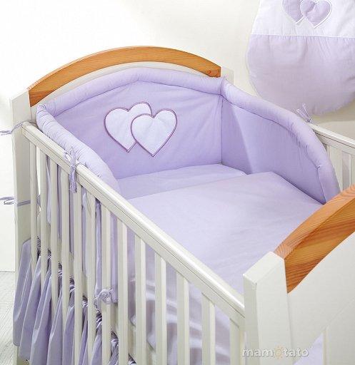 Mamo Tato Heart Col. Lavender Kokvilnas gultas veļas komplekts no 3 daļām (60/90x120 cm)