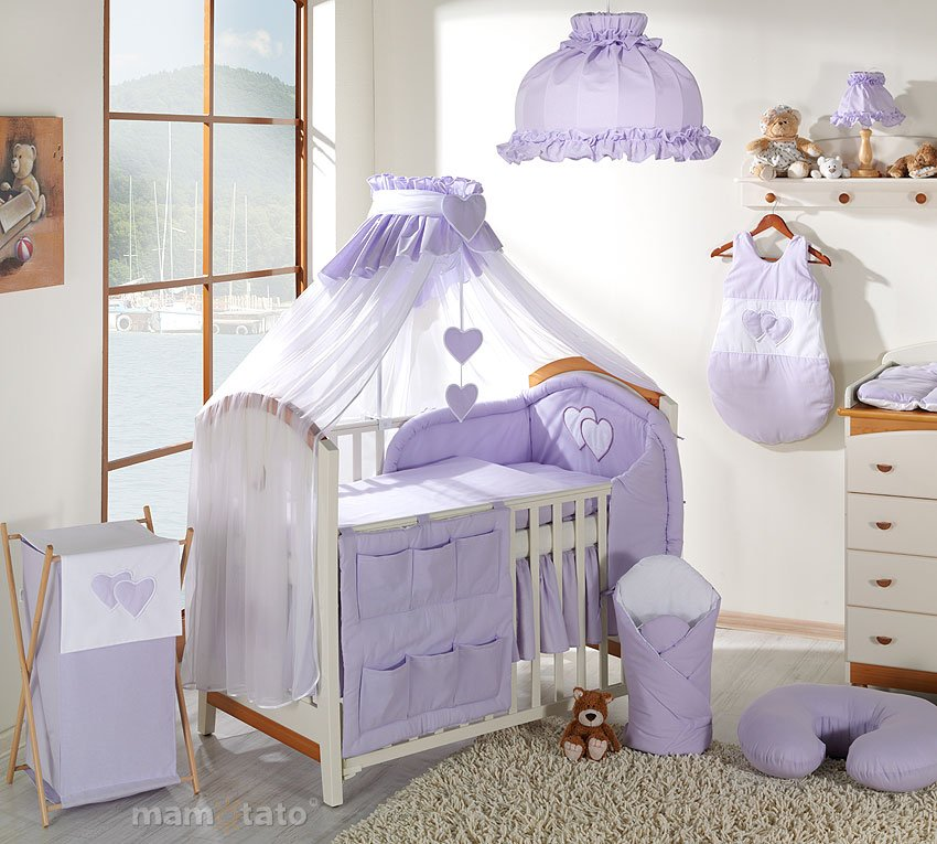 Mamo Tato Heart Col. Lavender Kokvilnas gultas veļas komplekts no 5 daļām (60/90x120 cm)
