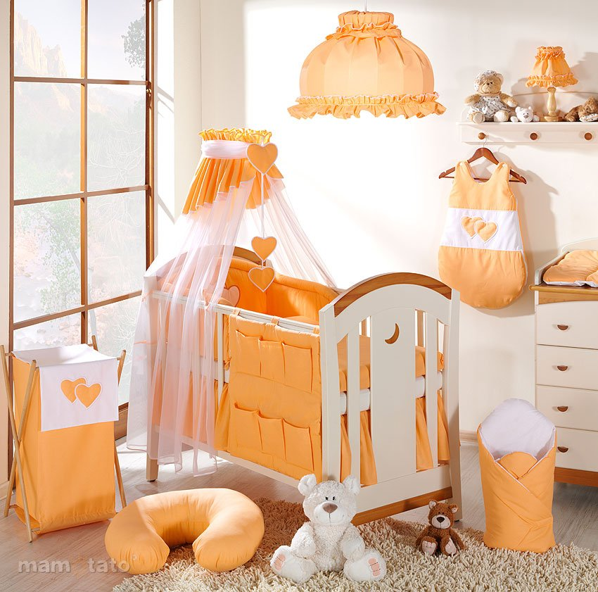 Mamo Tato Heart Col. Peach Kokvilnas gultas veļas komplekts no 5 daļām (60/100x135 cm)
