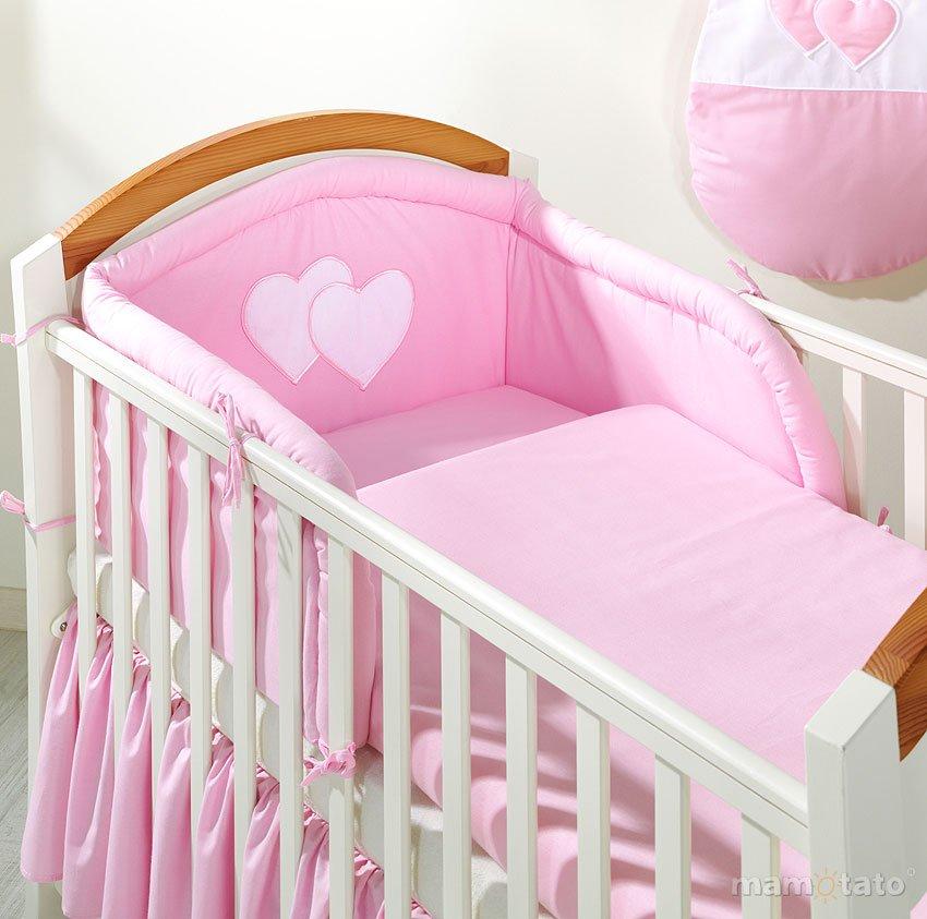 Mamo Tato Heart Col. Pink Kokvilnas gultas veļas komplekts no 3 daļām (60/90x120 cm)