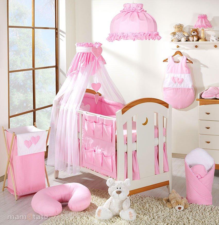 Mamo Tato Heart Col. Pink Kokvilnas gultas veļas komplekts no 7 daļām (60/100x135 cm)