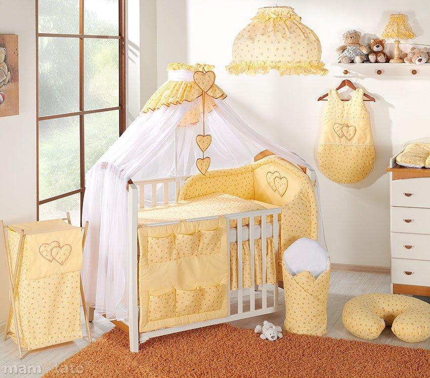 Mamo Tato Heart Col. Sunshine Kokvilnas gultas veļas komplekts no 5 daļām (60/90x120 cm)
