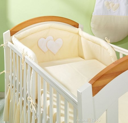 Mamo Tato Heart Col. Yellow Kokvilnas gultas veļas komplekts no 3 daļām (70/100x135 cm)