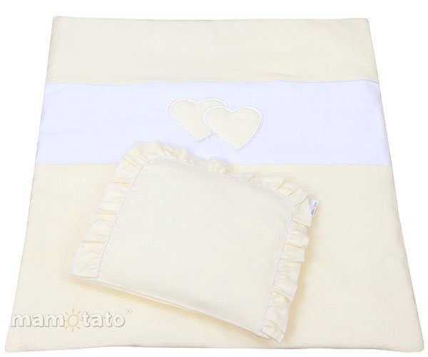 Mamo Tato Heart Col. Yellow Kokvilnas ratiņu veļas komplekts no 2 daļām