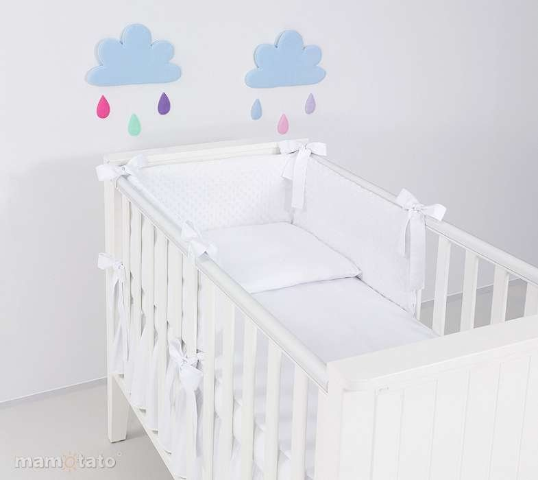 Mamo Tato Minky Col. White Kokvilnas gultas veļas komplekts no 3 daļām (60/100x135 cm)