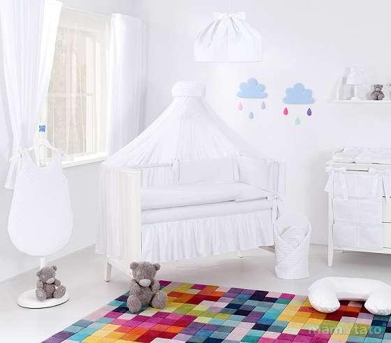 Mamo Tato Minky Col. White Kokvilnas gultas veļas komplekts no 5 daļām (60/100x135 cm)