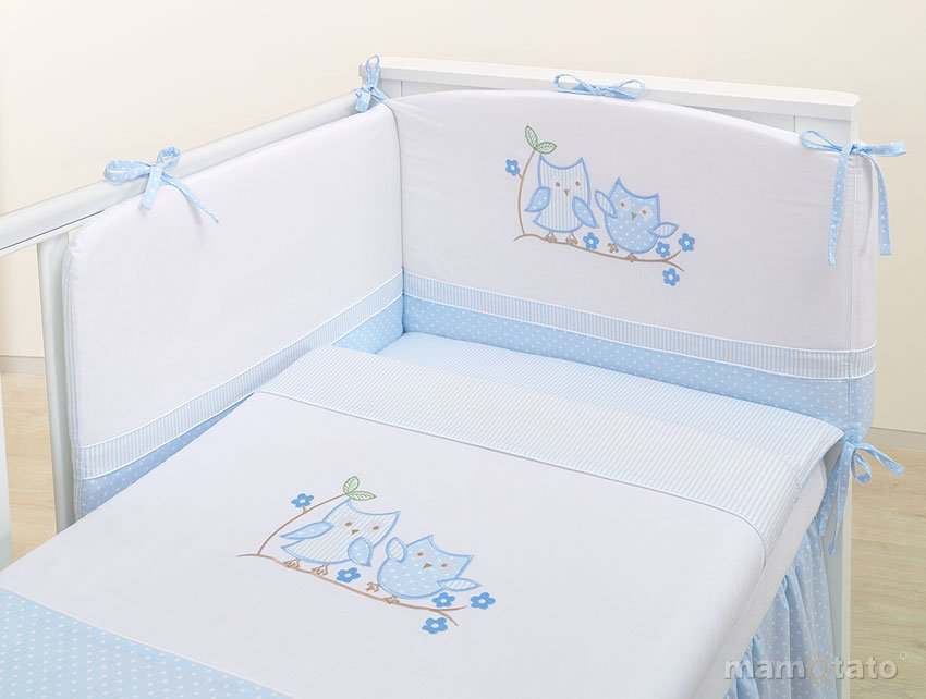 Mamo Tato Olws Col.Blue Kokvilnas gultas veļas komplekts no 3 daļām (60/100x135 cm)