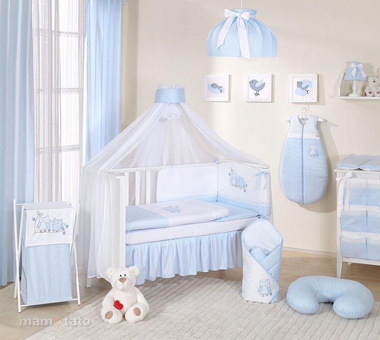 Mamo Tato Owl Col.Blue Kokvilnas gultas veļas komplekts no 11 daļam (60/100x135 cm)