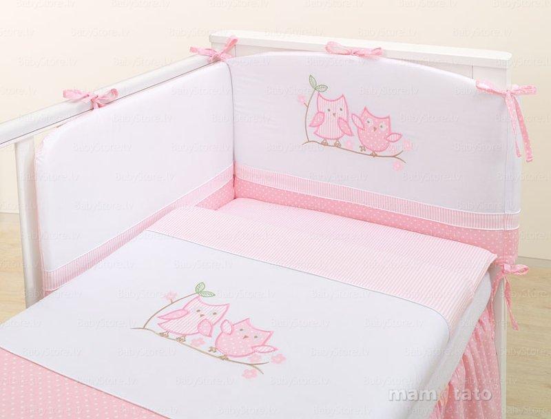 Mamo Tato Owls Col.Pink Kokvilnas gultas veļas komplekts no 3 daļām (60/100x135 cm)