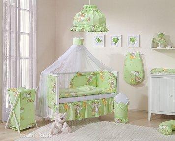 Mamo Tato Teddy Bears Col. Green Kokvilnas gultas veļas komplekts no 11 daļām (70/100x135 cm)