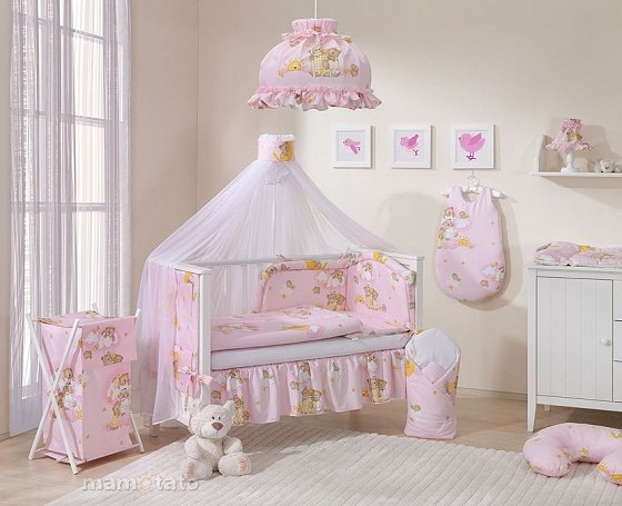 Mamo Tato Teddy Bears Col. Pink Kokvilnas gultas veļas komplekts no 6 daļām (60/100x135 cm)
