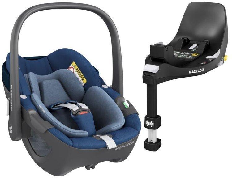 Maxi Cosi Pebble Essential blue Bērnu autosēdeklis 0-13 kg + Familyfix 360 bāze