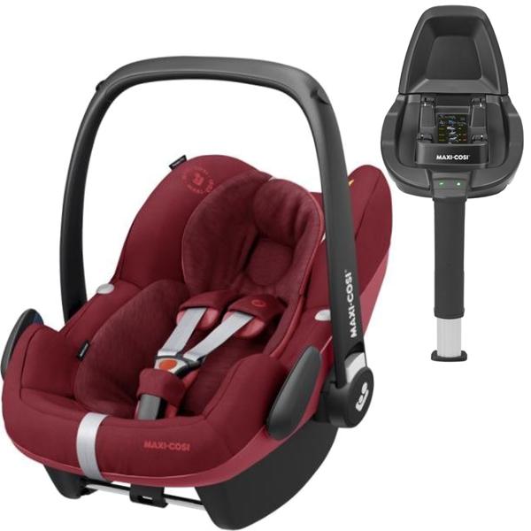 Maxi Cosi Pebble Pro Essential red Bērnu autosēdeklis 0-13 kg + Familyfix2 bāze