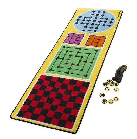 Melissa&Doug 4 in1 Game Rug Bērnu paklājiņš spēlēm 199.4 x 67.3 cm + 36 gab. koka kauliņi