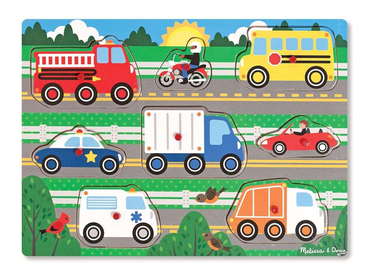 Melissa Doug Puzzles Vehicles Koka puzle mazuļiem Mašīnas