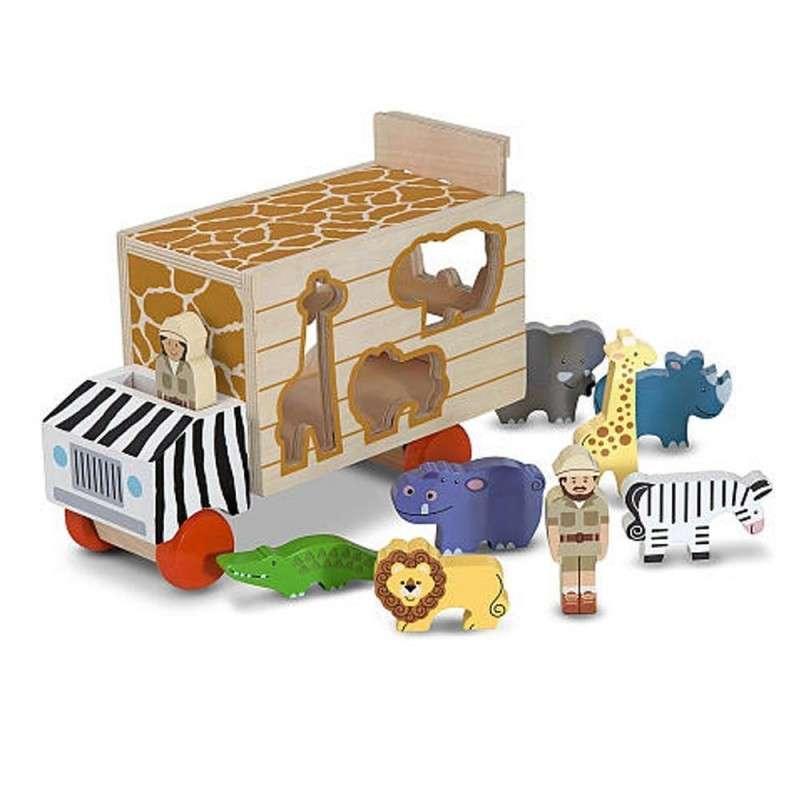 Melissa&Doug Safari Truck Koka treilers ar dzīvniekiem
