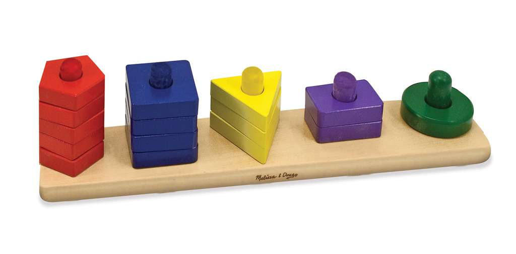 Melissa&Doug Sort Board Attīstoša koka rotaļlieta 'Ģeometrijas figūras'