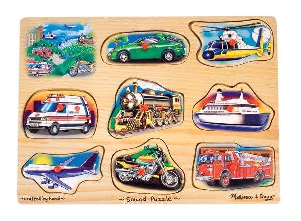 Melissa&Doug Sound Puzzles Vehicles Koka muzikāla puzle