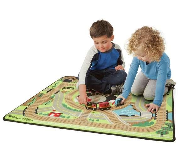 Melissa&Doug Train Rug Bērnu paklājiņš spēlēm ar vilcienu 91x100 cm