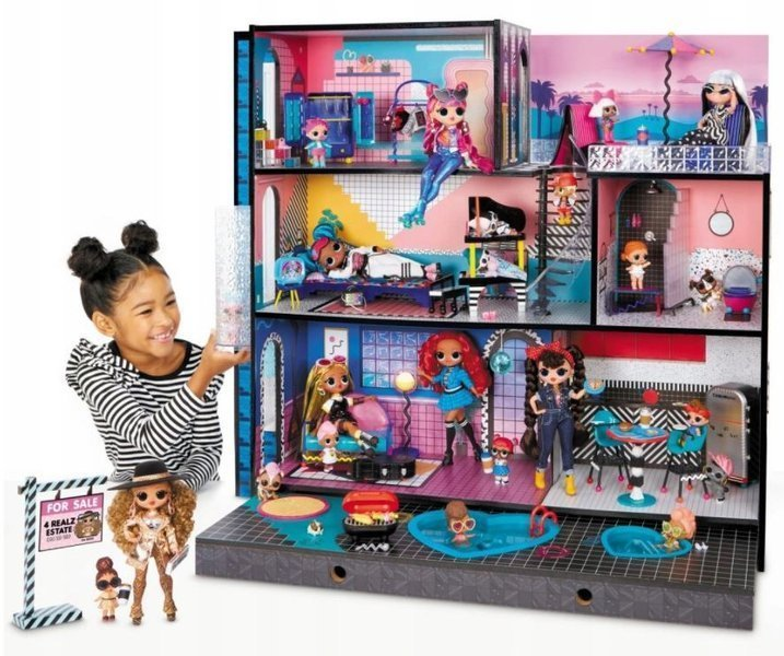 MGA LOL New Real Wood Doll House with 85+ Surprises Interaktīvā leļļu māja