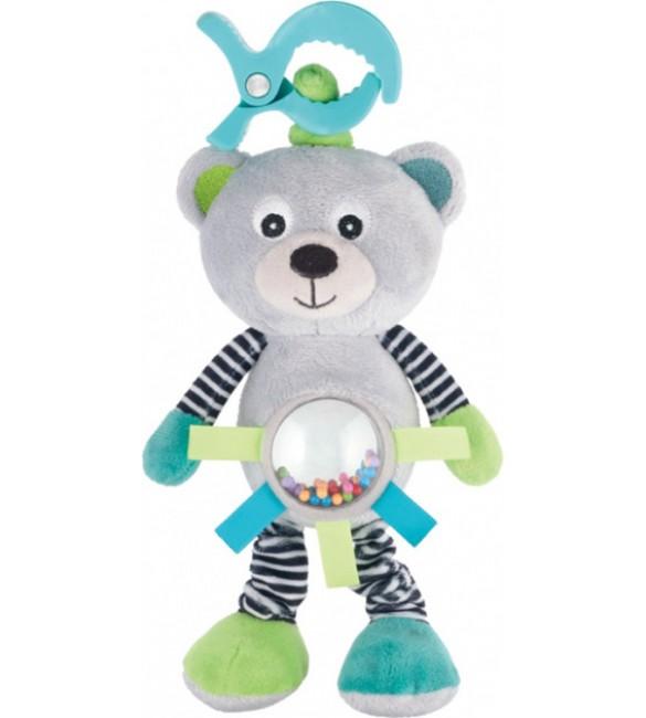 Mīkstā rotaļlieta ar vibrāciju un grabuli Canpol BEAR grey 68/062