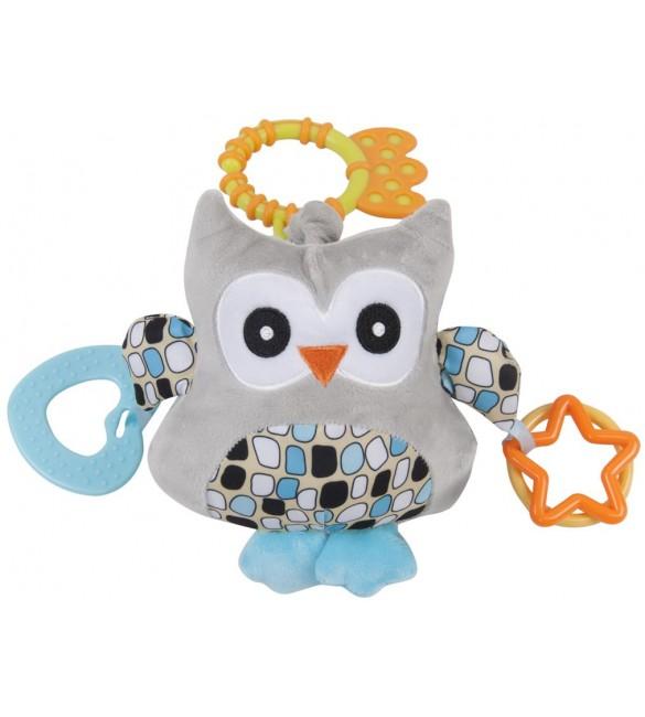 Mīkstā rotaļļieta ar vibrāciju un smiekles skaņu Pūce SUN BABY B11.007.1.2 blue