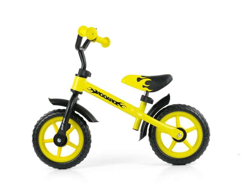 MillyMally Dragon Yellow Bērnu skrejritenis ar metālisko rāmi 10''