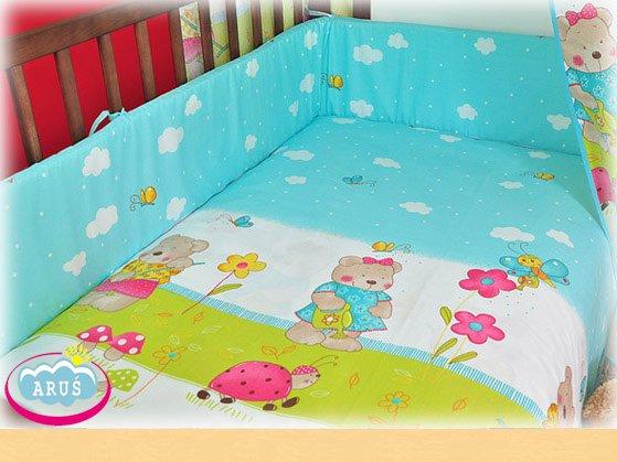 MimiNu Kokvilnas gultas veļas komplekts no 4 daļām ar baldahīnu 135x100