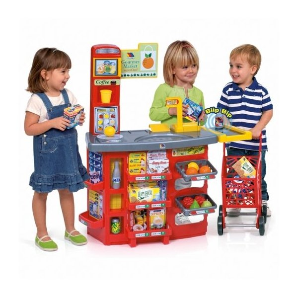 Molto Gourmet Market Bērnu lielveikals ar iepirkšanās ratiņiem + 21 aksesuārs